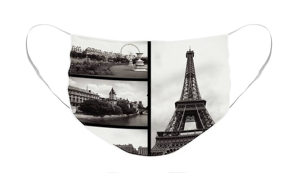 Paris Face Mask featuring the photograph Paris Collage - Black and White by Carol Groenen