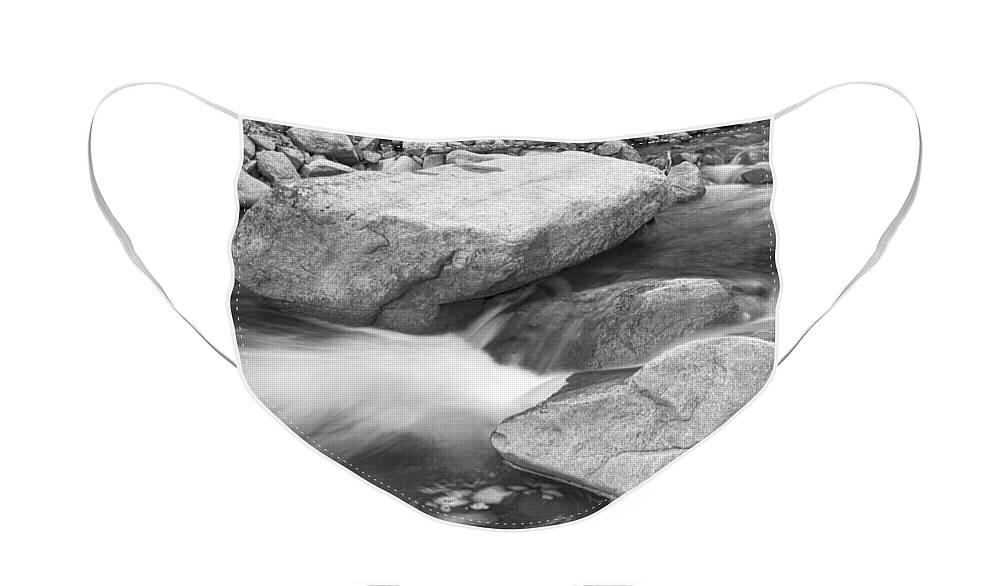 Peaceful Face Mask featuring the photograph Peaceful Flowing Water in Black and White by James BO Insogna