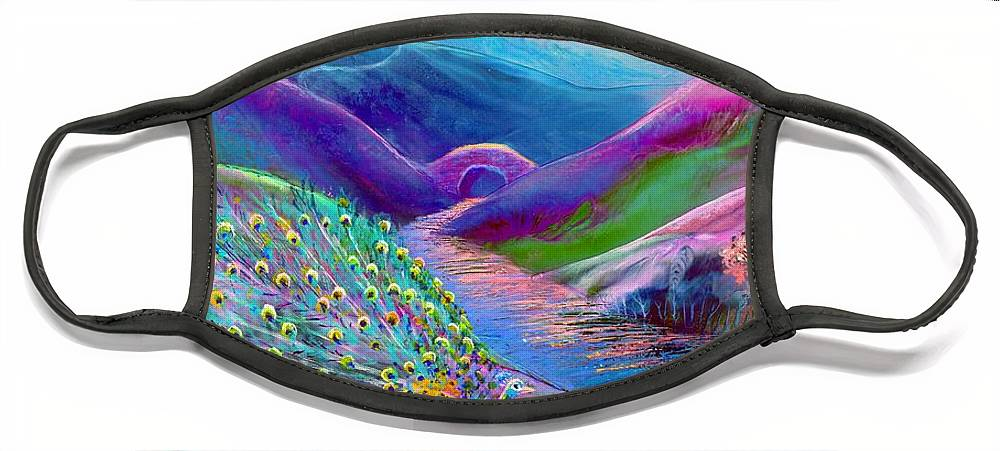 Abstract Face Mask featuring the painting Peacock Magic by Jane Small