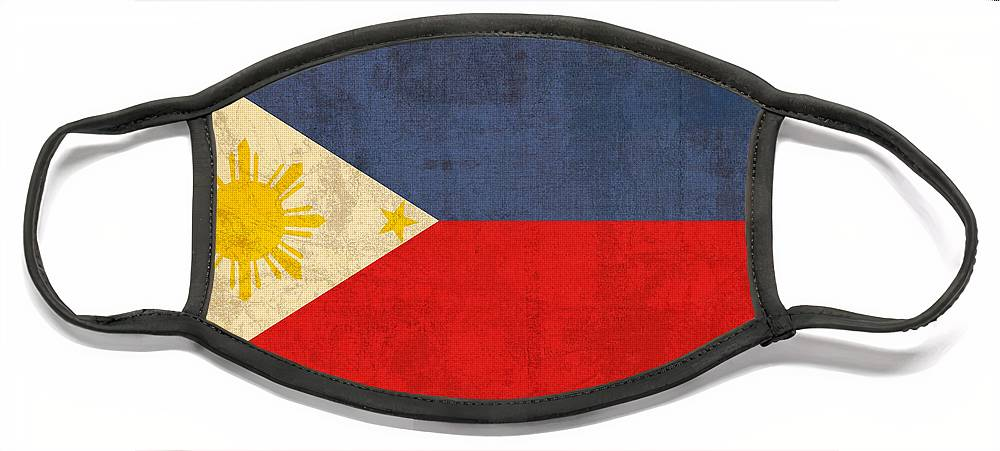 Philippines Face Mask featuring the mixed media Philippines Flag Vintage Distressed Finish by Design Turnpike