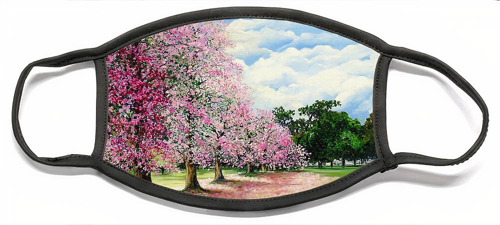 Pink Poui Trees Face Mask featuring the painting Pink Savannah Poui by Karin Dawn Kelshall- Best