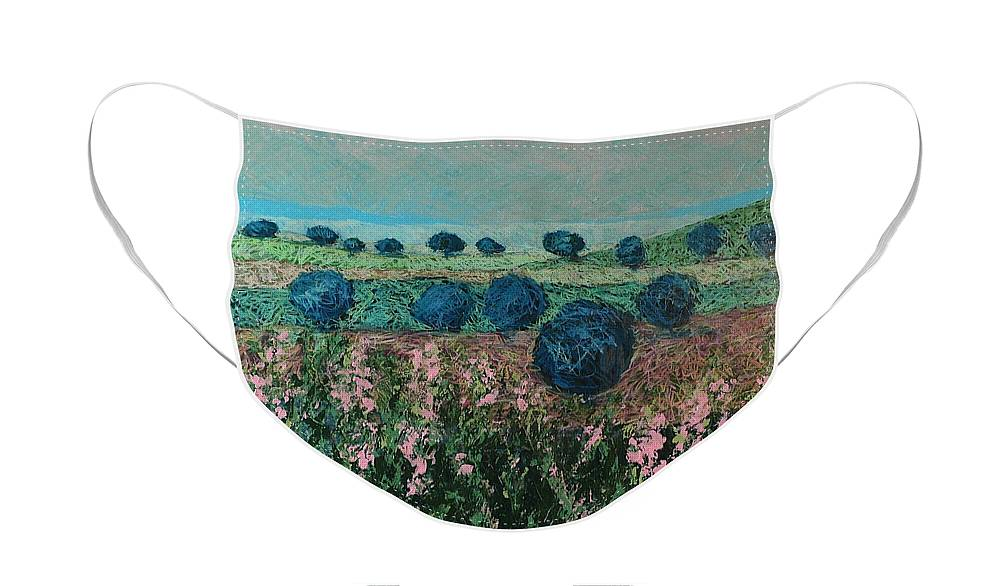 Landscape Face Mask featuring the painting Pleasant Meadows by Allan P Friedlander