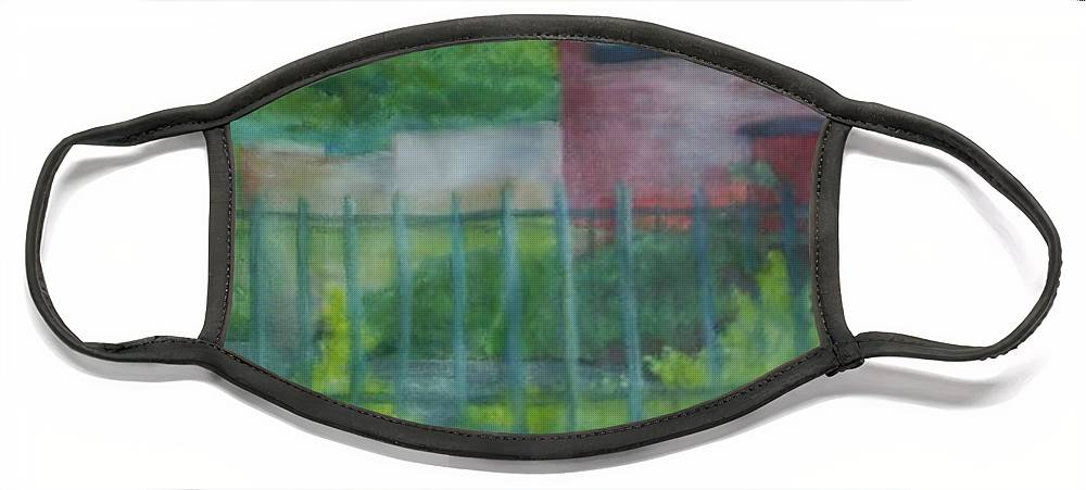 Park Face Mask featuring the painting Plein Aire Smithville Park by Sheila Mashaw