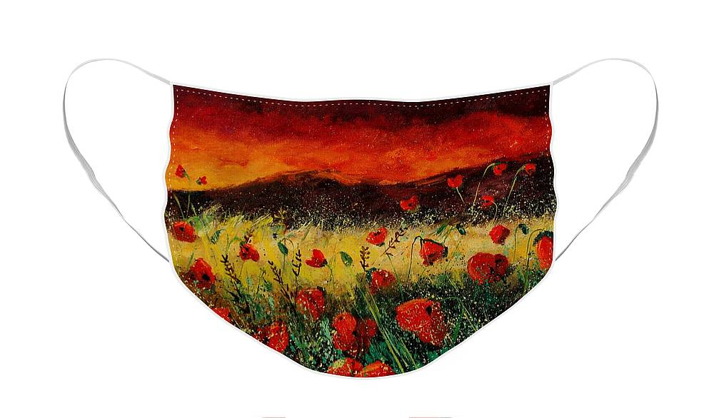 Poppies Face Mask featuring the painting Poppies 68 by Pol Ledent