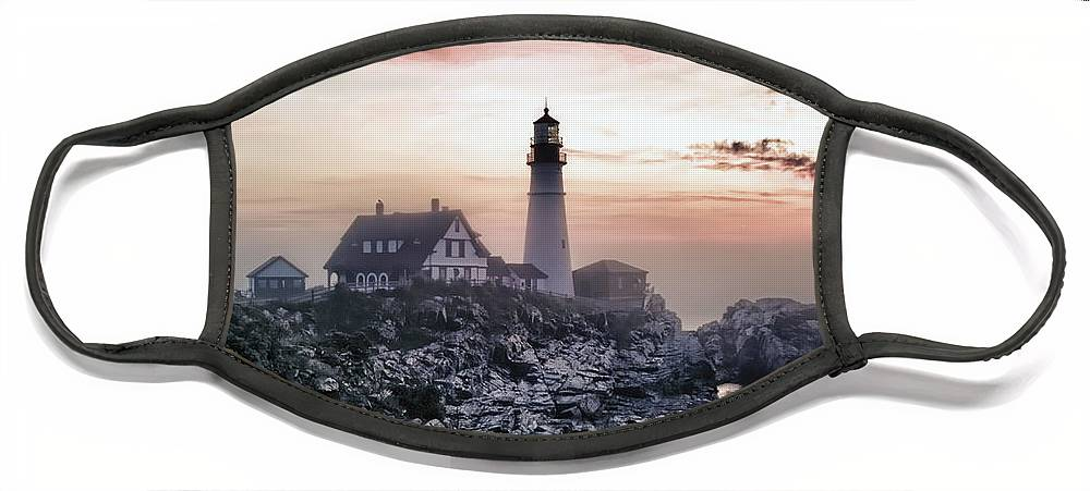 Architecture Face Mask featuring the photograph Portland Head Light Summer Sunrise by Richard Bean