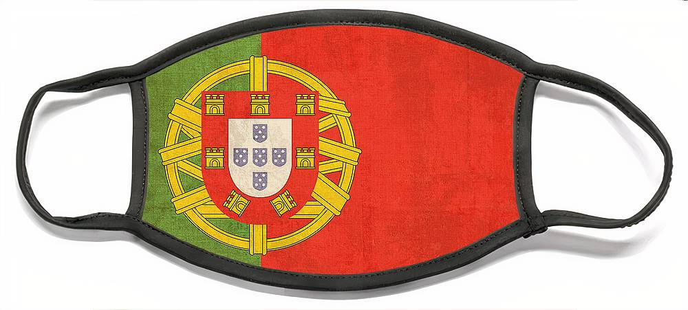 Portugal Flag Vintage Distressed Finish Lisbon Portuguese Europe Nation Country Face Mask featuring the mixed media Portugal Flag Vintage Distressed Finish by Design Turnpike