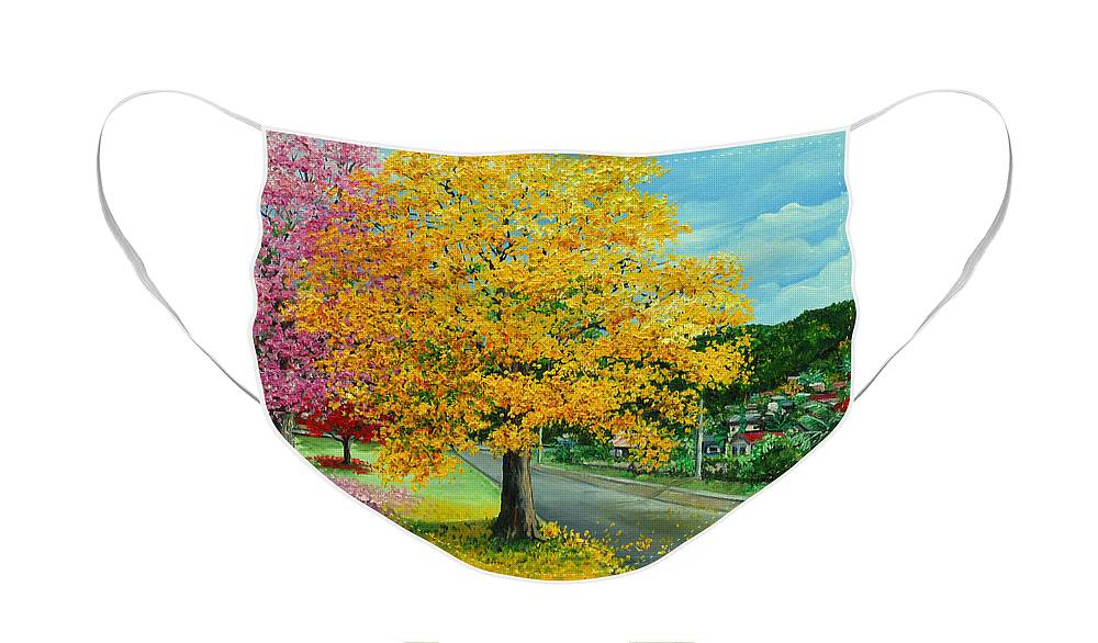 Poui Trees Face Mask featuring the painting Poui In Diego by Karin Dawn Kelshall- Best