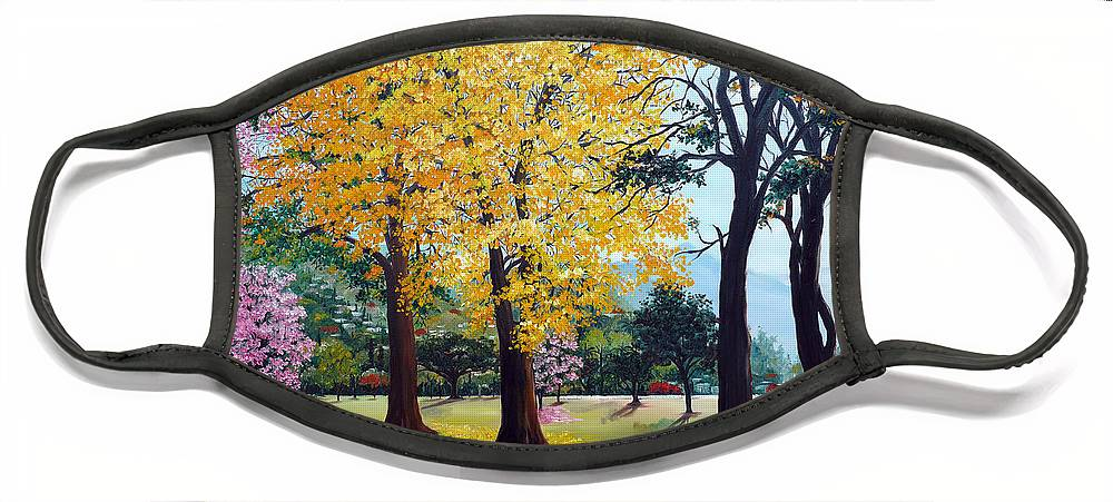 Tree Painting Landscape Painting Caribbean Painting Poui Tree Yellow Blossoms Trinidad Queens Park Savannah Port Of Spain Trinidad And Tobago Painting Savannah Tropical Painting Face Mask featuring the painting Poui Trees in the Savannah by Karin Dawn Kelshall- Best