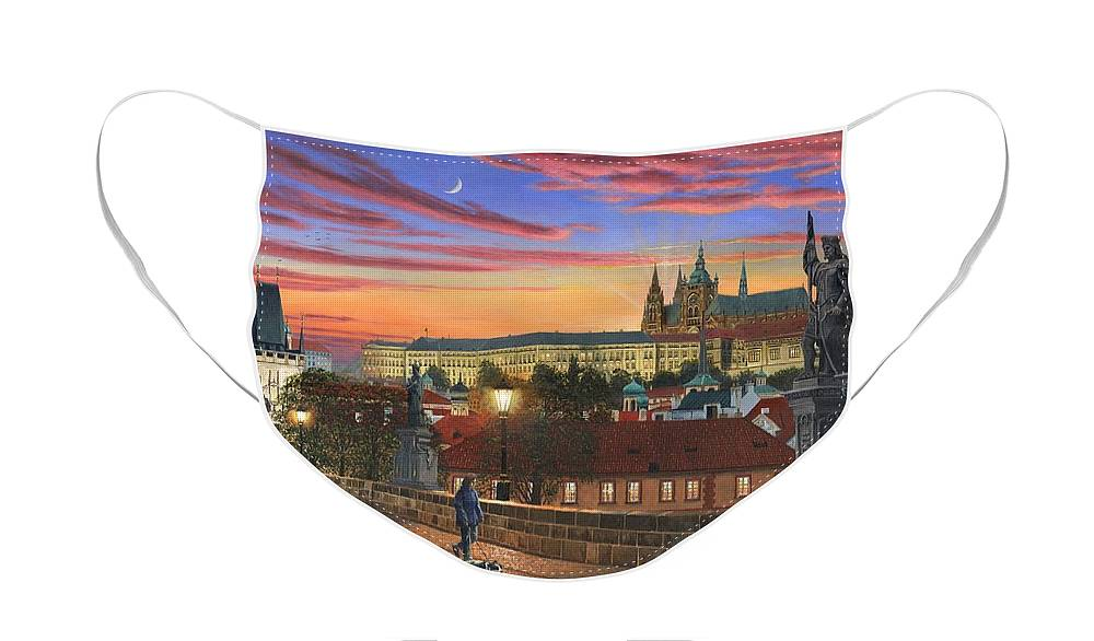 Landscape Face Mask featuring the painting Prague at Dusk by Richard Harpum