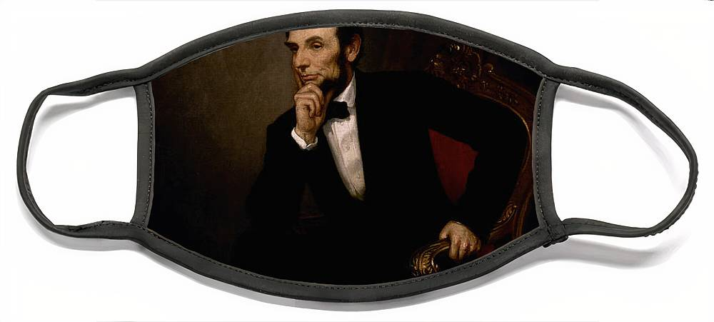 Abraham Lincoln Face Mask featuring the painting President Lincoln by War Is Hell Store