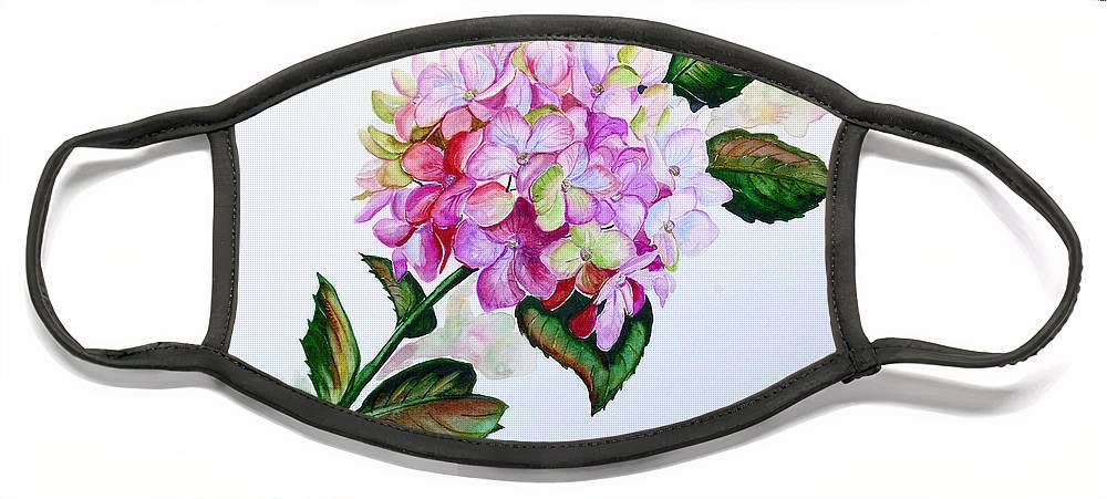 Hydrangea Painting Floral Painting Flower Pink Hydrangea Painting Botanical Painting Flower Painting Botanical Painting Greeting Card Painting Painting Face Mask featuring the painting Pretty In Pink by Karin Dawn Kelshall- Best