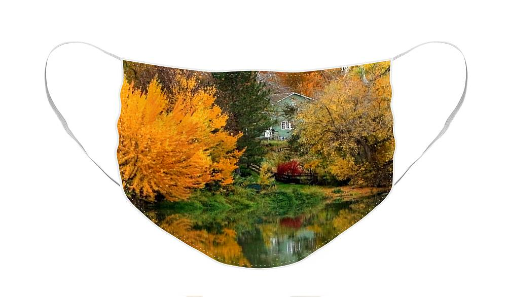Fall Face Mask featuring the photograph Prosser - Fall Reflection with Hills by Carol Groenen