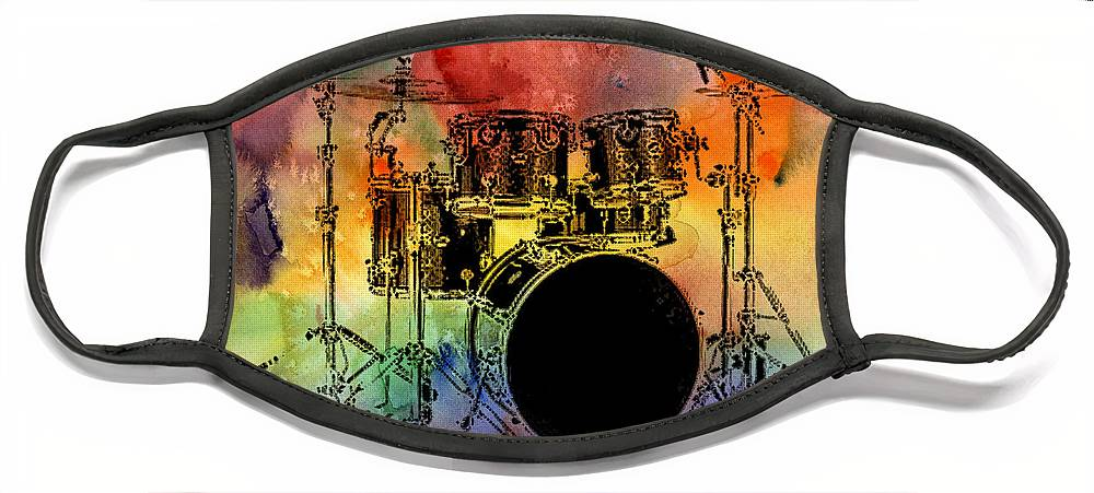 Drums Face Mask featuring the photograph Psychedelic Drum Set by Athena Mckinzie