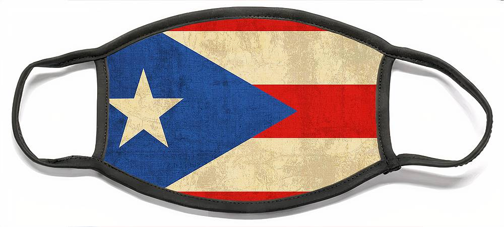 Puerto Face Mask featuring the mixed media Puerto Rico Flag Vintage Distressed Finish by Design Turnpike
