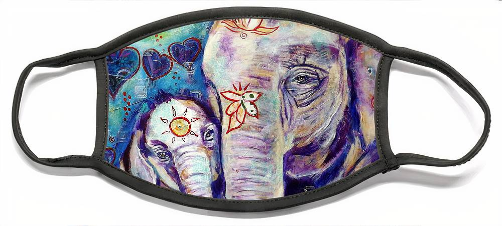Elephant Painting Face Mask featuring the painting Purest Love by Goddess Rockstar