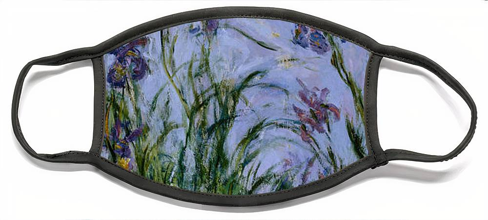 Purple Face Mask featuring the painting Purple Irises by Claude Monet