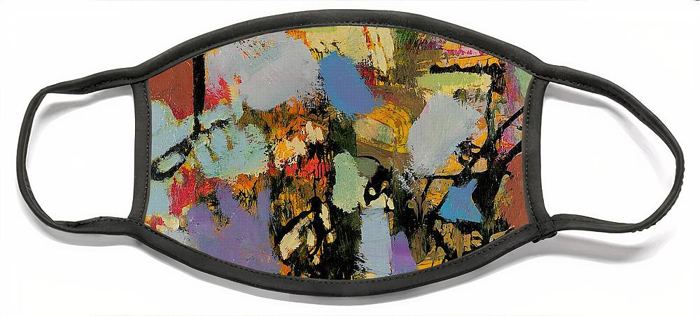 Landscape Face Mask featuring the painting Quick Racing by Allan P Friedlander