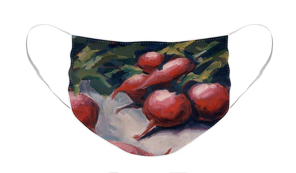Radishes Face Mask featuring the painting Radishes by Konnie Kim