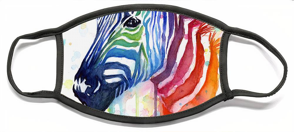 Rainbow Face Mask featuring the painting Rainbow Zebra - Ode to Fruit Stripes by Olga Shvartsur