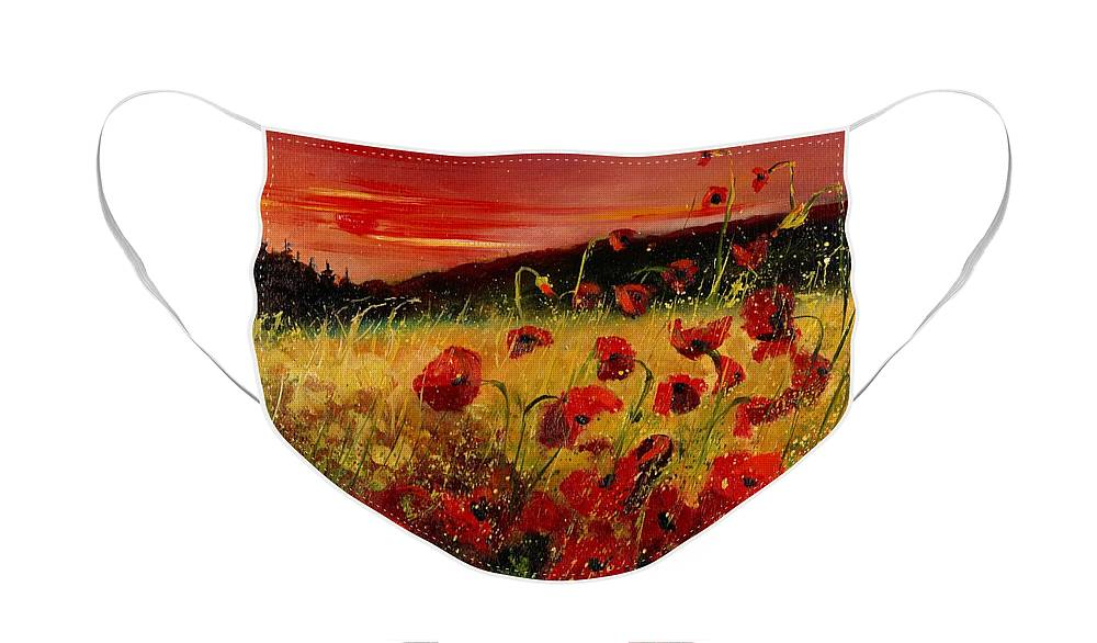 Poppies Face Mask featuring the painting Red poppies and sunset by Pol Ledent