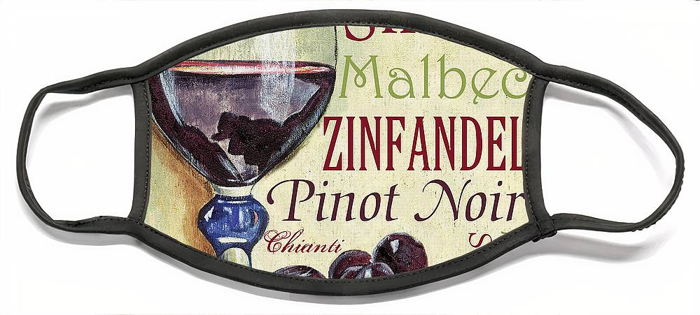 Wine Face Mask featuring the painting Red Wine Text by Debbie DeWitt