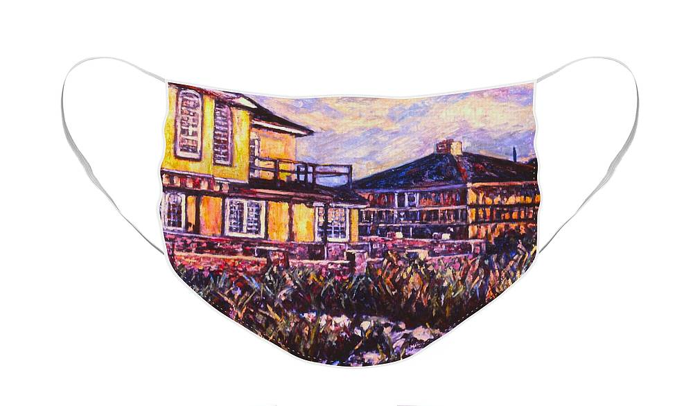 Landscape Face Mask featuring the painting Rehoboth Beach Houses by Kendall Kessler
