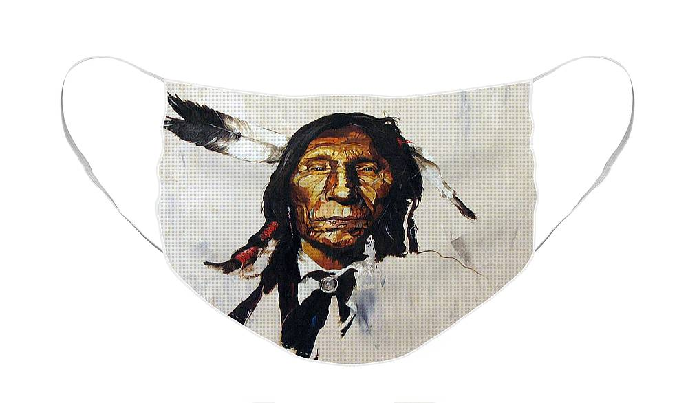 Southwest Art Face Mask featuring the painting Remember by J W Baker