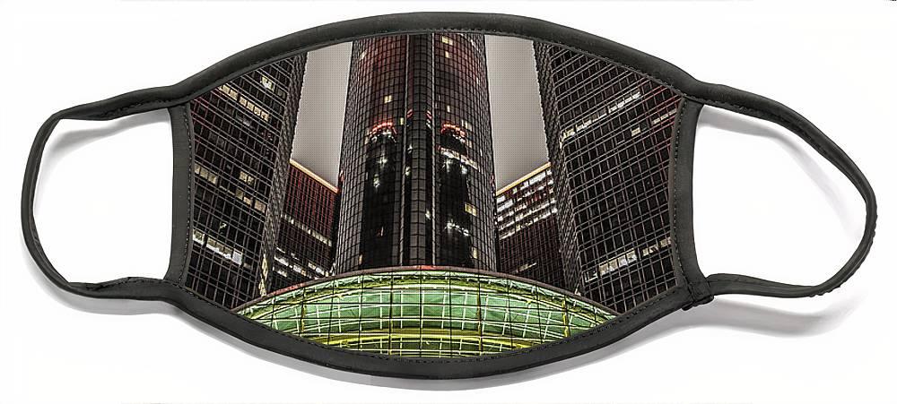 Renaissance Center Face Mask featuring the photograph Renaissance Center Detroit Michigan by Nicholas Grunas