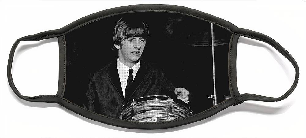 Beatles Face Mask featuring the photograph Ringo Starr, Beatles Concert, 1964 by Larry Mulvehill