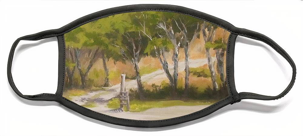Plein Air Face Mask featuring the painting Road to the Cabin by Karen Ilari