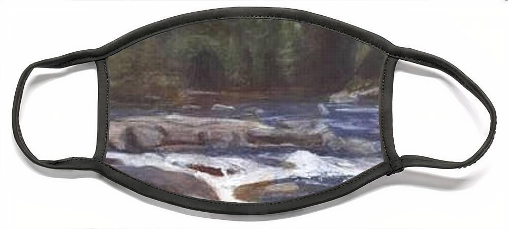 Rocks Face Mask featuring the painting Rocks by Sheila Mashaw