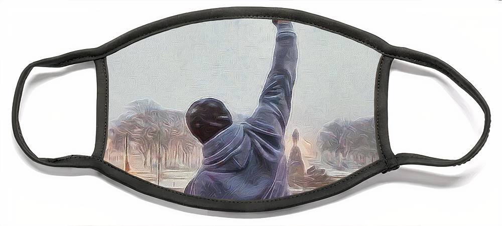 Rocky Balboa Face Mask featuring the painting Rocky Balboa by Dan Sproul