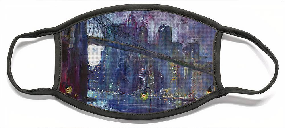 Brooklyn Bridge Face Mask featuring the painting Romance by East River NYC by Ylli Haruni