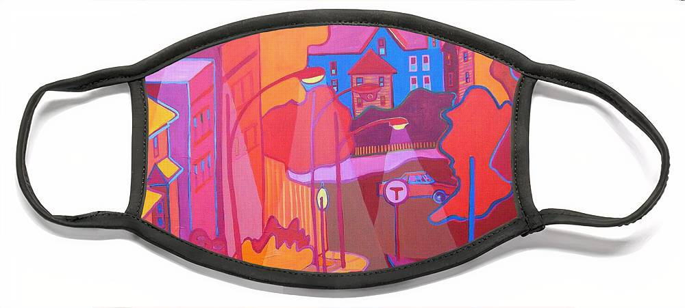 Cityscape Face Mask featuring the painting Roslindale Never Looked so Red by Debra Bretton Robinson
