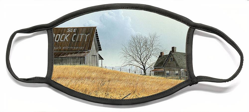 Rural American Face Mask featuring the painting Rural America by Mike Brown