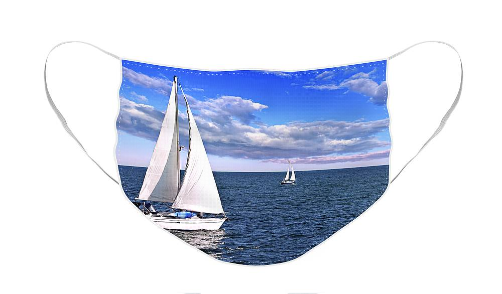Boat Face Mask featuring the photograph Sailboats at sea by Elena Elisseeva