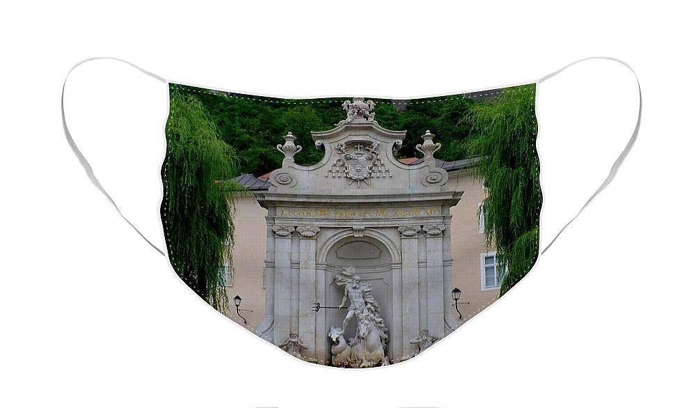 Salzburg Face Mask featuring the photograph Salzburg Castle with Fountain by Carol Groenen