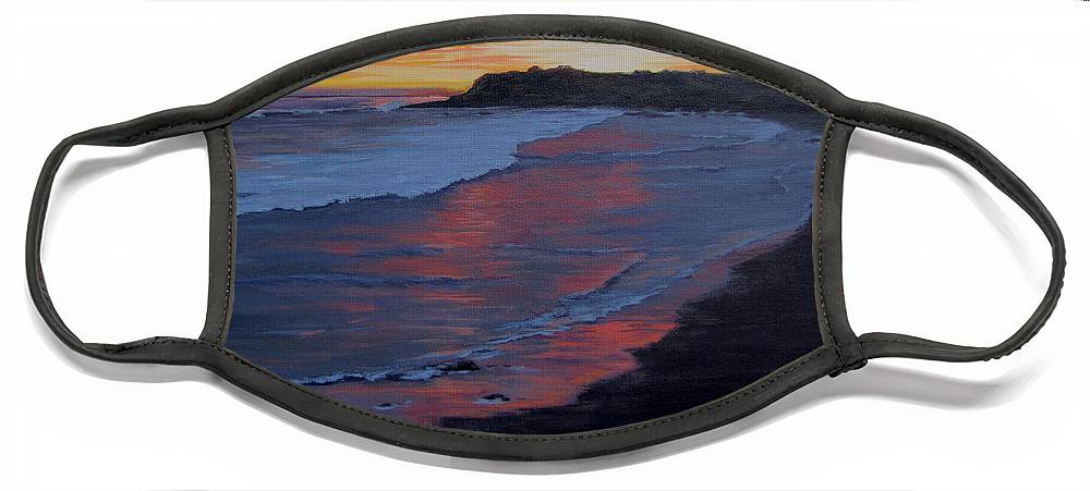 Beach Face Mask featuring the painting San Simeon Sunset by Karen Ilari