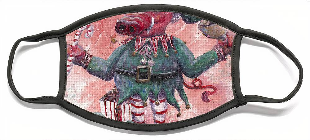 Elf Face Mask featuring the painting Santa's Littlest Elf Hog by Nadine Rippelmeyer