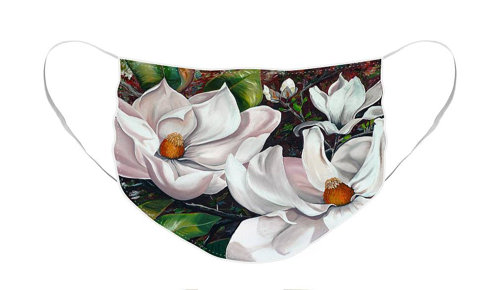 Magnolia Painting Flower Painting Botanical Painting Floral Painting Botanical Bloom Magnolia Flower White Flower Greeting Card Painting Face Mask featuring the painting Scent Of The South. by Karin Dawn Kelshall- Best