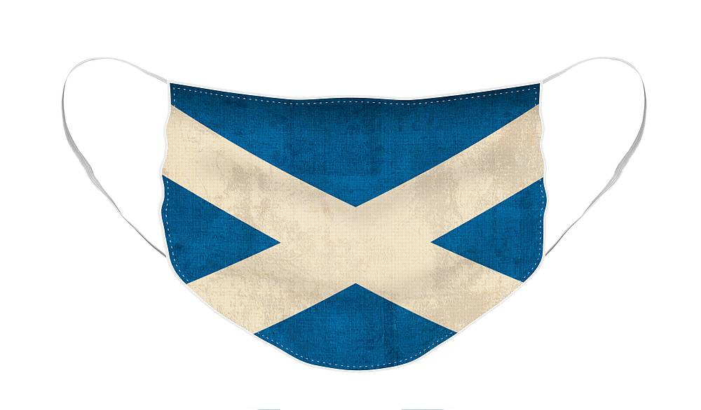 Scotland Flag Vintage Distressed Finish Face Mask featuring the mixed media Scotland Flag Vintage Distressed Finish by Design Turnpike