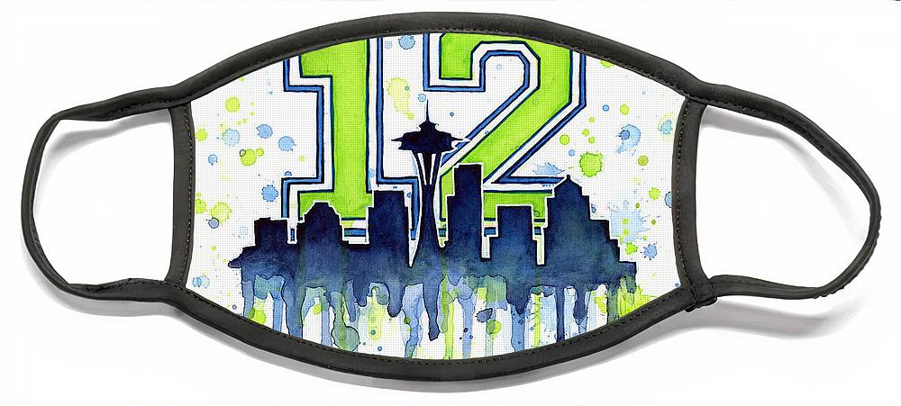 Seattle Face Mask featuring the painting Seattle Seahawks 12th Man Art by Olga Shvartsur