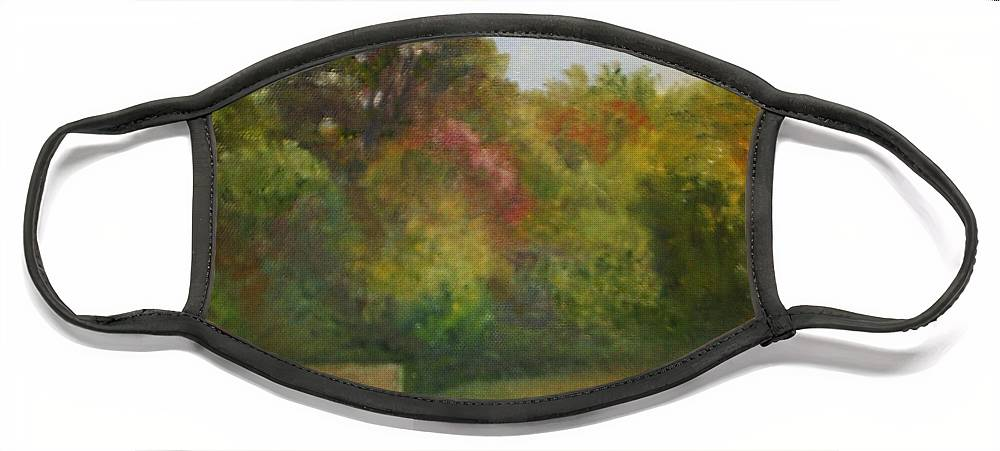 September Face Mask featuring the painting September at Smithville Park by Sheila Mashaw