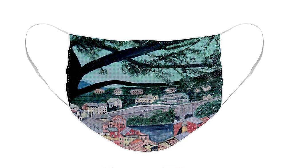 Italy Face Mask featuring the painting Sestri Levante by Laurie Morgan