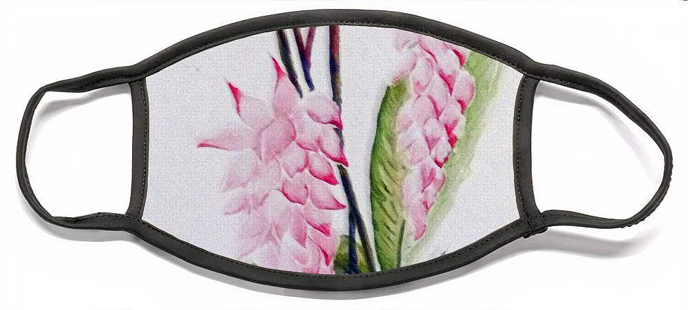 Tropical Ginger Face Mask featuring the painting Shell Ginger by Karin Dawn Kelshall- Best