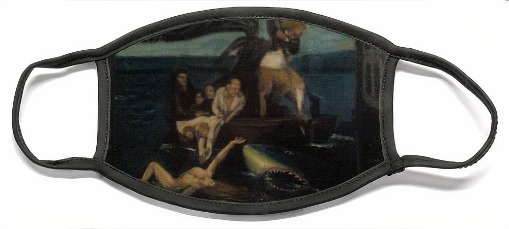 Face Mask featuring the painting Shipwrecked Psyche Unfinished by Jude Darrien