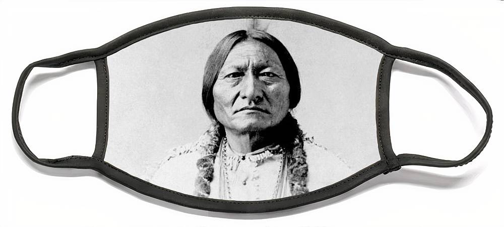 Native American Face Mask featuring the photograph Sioux Chief Sitting Bull by War Is Hell Store
