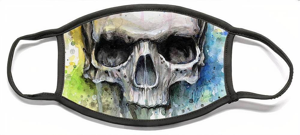 Skull Face Mask featuring the painting Skull Watercolor Painting by Olga Shvartsur