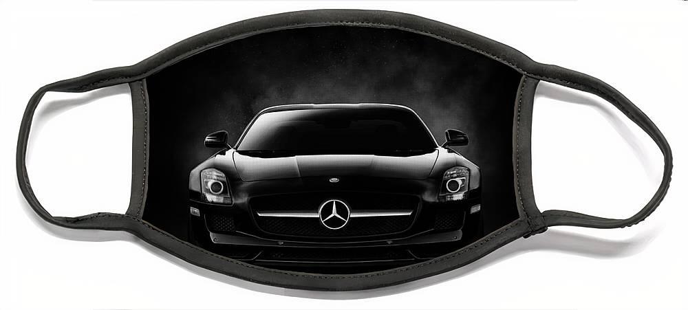 Mercedes Face Mask featuring the digital art SLS Black by Douglas Pittman