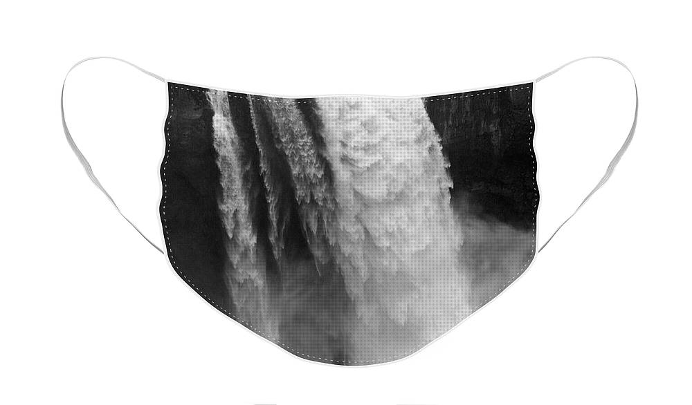 Snoqualmie Falls Face Mask featuring the photograph Snoqualmie Falls - Black and White by Carol Groenen